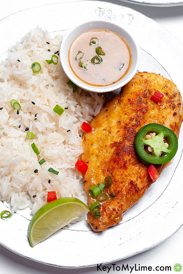 Coconut lime chicken on a white plate.