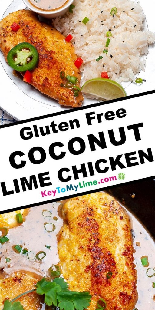 A Pinterest pin image with two pictures of coconut chicken and title text in the middle.