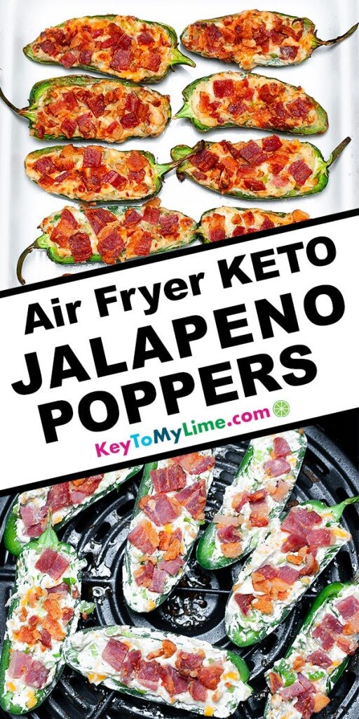 A Pinterest pin image showing two pictures of jalapeno poppers with title text in the middle.