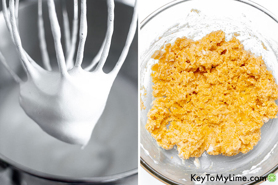 A process collage showing whipped egg whites and the dough after adding some of the egg whites.