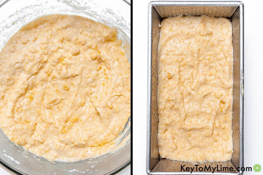 A process collage showing the dough before and after it's put in the loaf pan.
