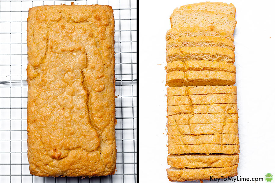 A process collage showing a keto bread loaf before and after slicing.