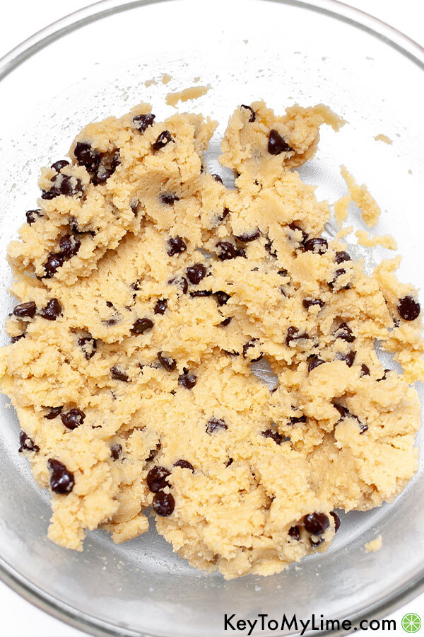 A bowl of keto chocolate chip cookie dough.