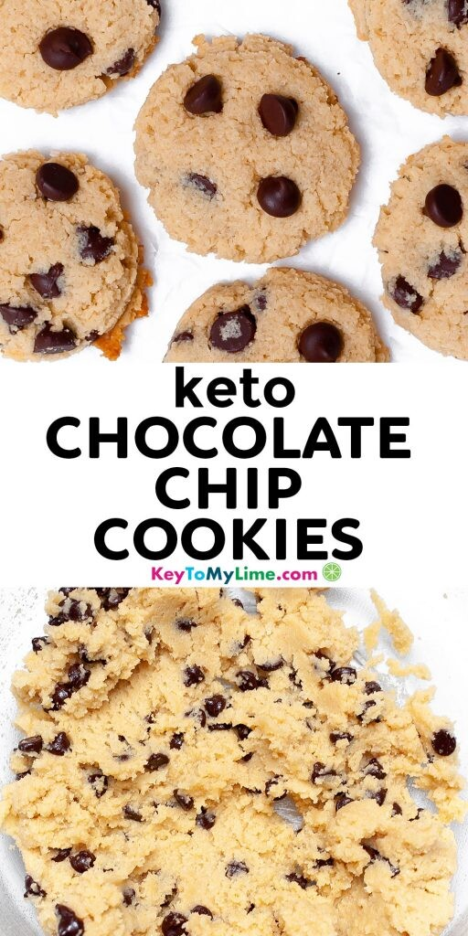 A Pinterest pin image showing pictures of keto cookies separated by title text in the middle.