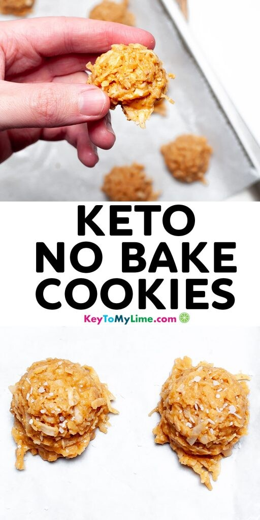 A Pinterest pin image with two pictures of keto cookies and title text in the middle.