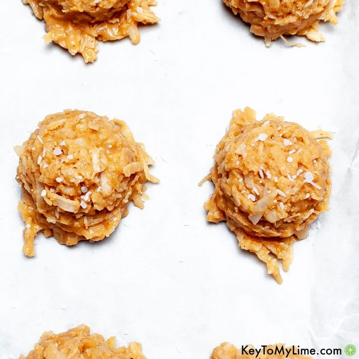 A close up image of keto no bake cookies with flaky salt on top.