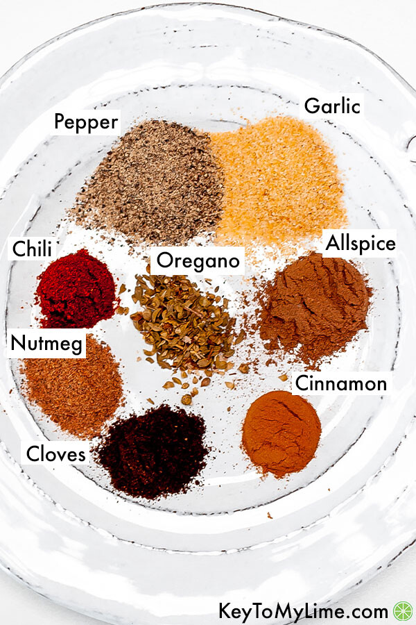 Labeled shawarma spices on a plate.