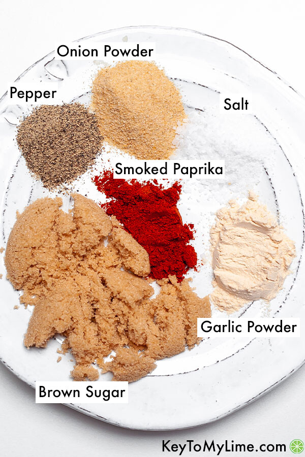 Labeled spices for bbq chicken.