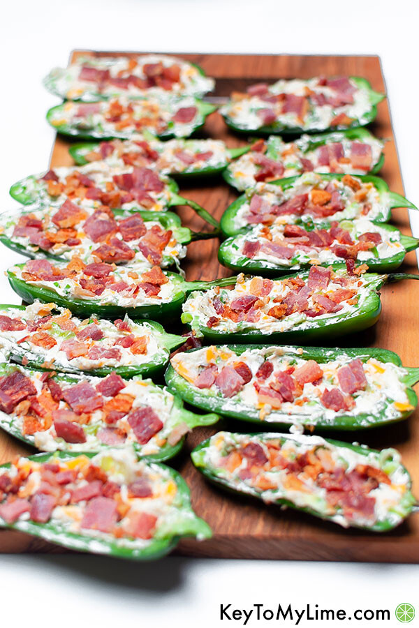 Jalapeno poppers before cooking in the air fryer.