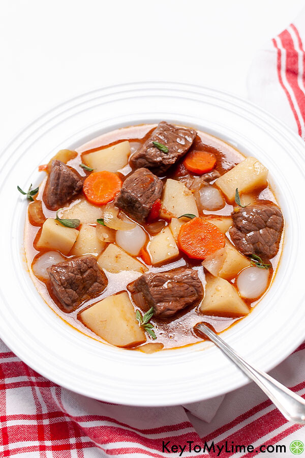 A side image of a bowl of Mulligan beef stew.