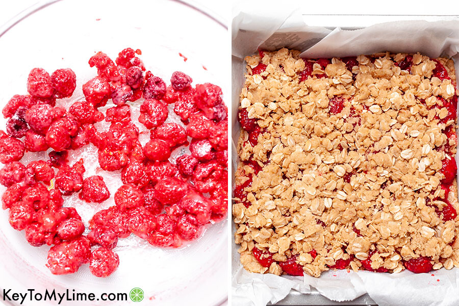 A process collage showing raspberries coated in starch and lemon juice and the bars before going in the oven.