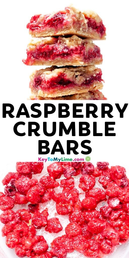 A Pinterest pin image with two pictures of raspberry bars and title text in the middle.