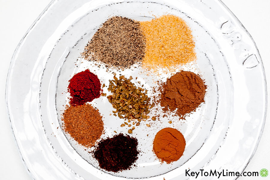 Shawarma spices on a plate.