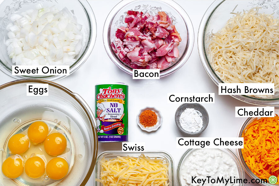The labeled ingredients for an Amish Breakfast Casserole.
