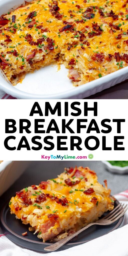 A Pinterest pin image showing two pictures of breakfast egg casserole separated by title text.