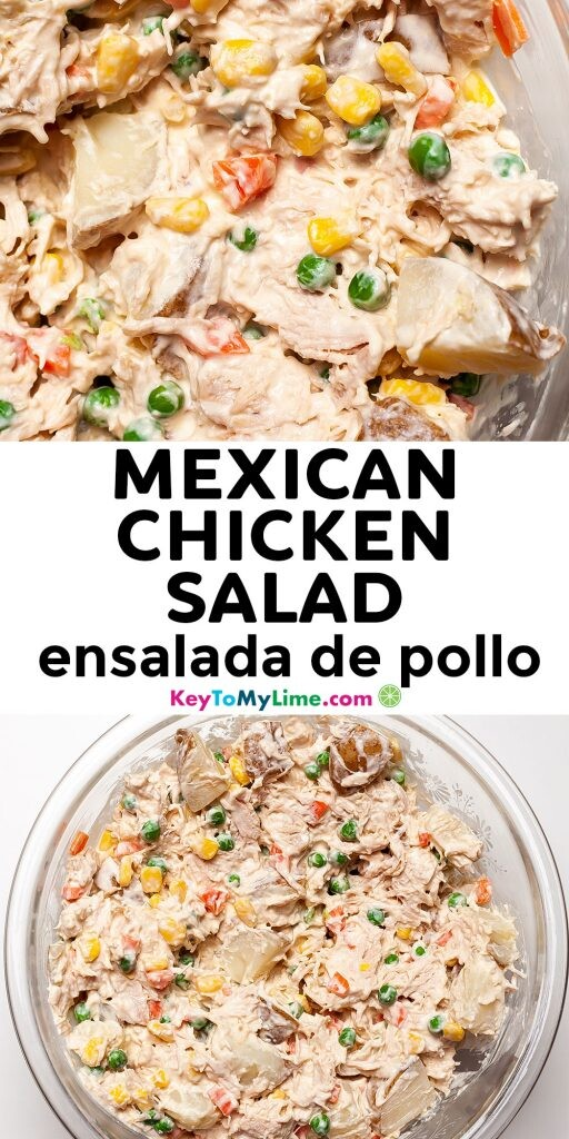 A Pinterest pin image with two pictures of Mexican chicken salad with title text in the middle.