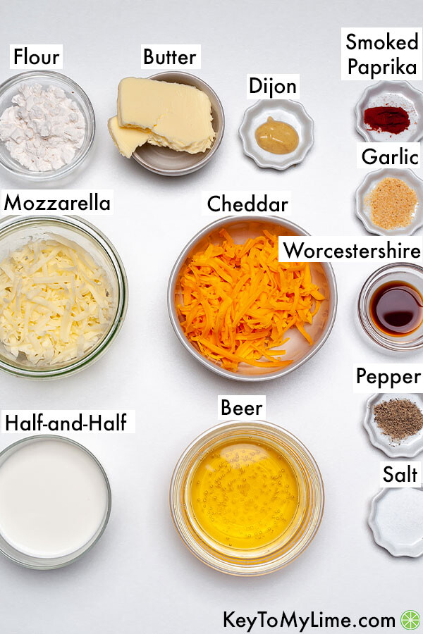 The labeled ingredients for the dip in individual containers.