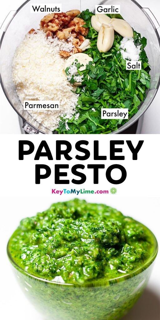 A Pinterest pin image showing two pictures of parsley pesto with title text in the middle.