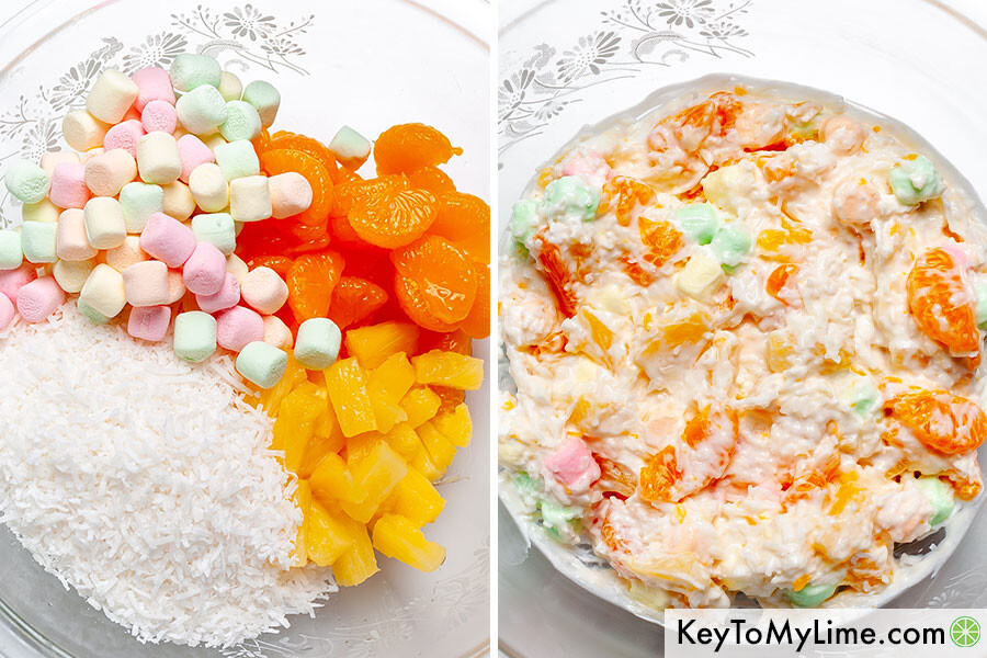 A process collage showing the ingredients for 5 cup salad before and after mixing.