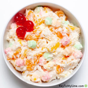 An easy 5 cup salad or ambrosia salad in a bowl.