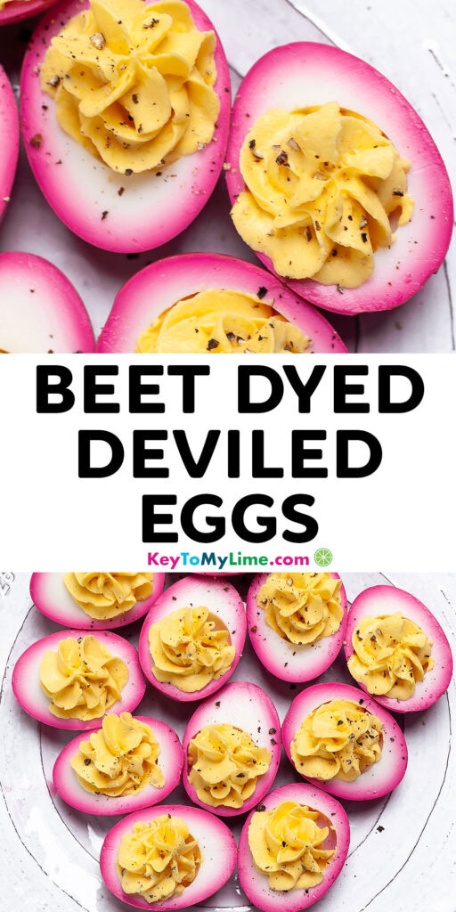 A Pinterest pin image with pictures of beet dyed deviled eggs and title text.
