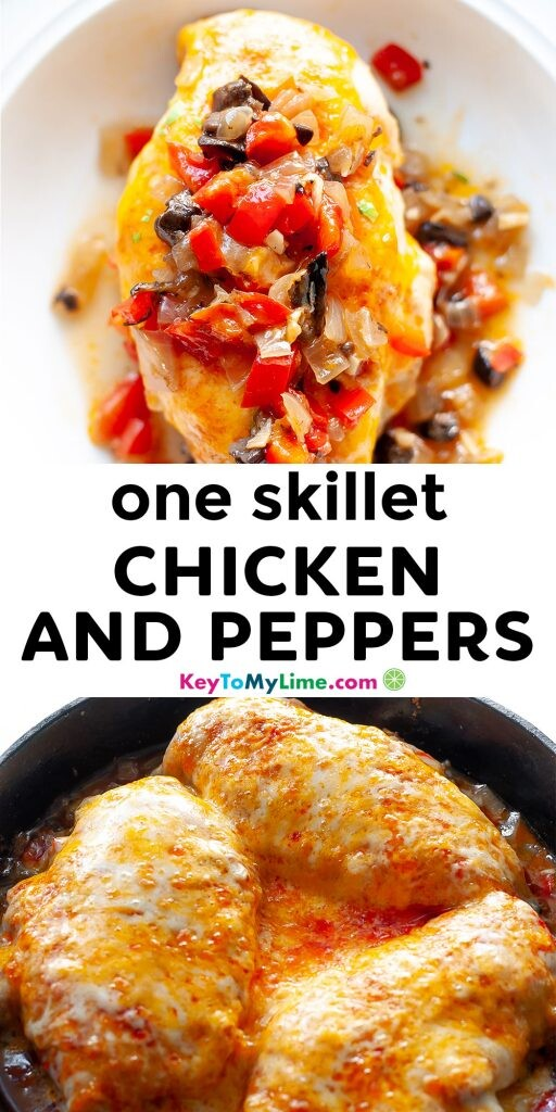 A Pinterest pin image showing two pictures of chicken and peppers with title text in the middle.