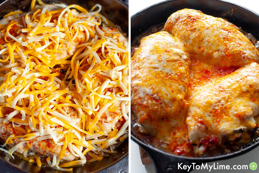A process collage showing before and after melting cheese on chicken.