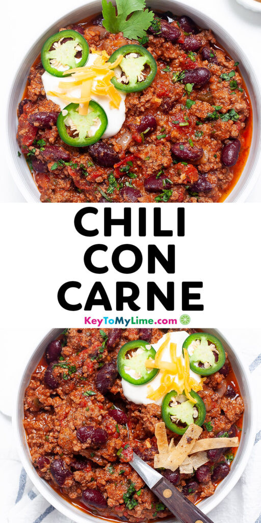 Pinterest pin with pictures of chili con carne and title text.