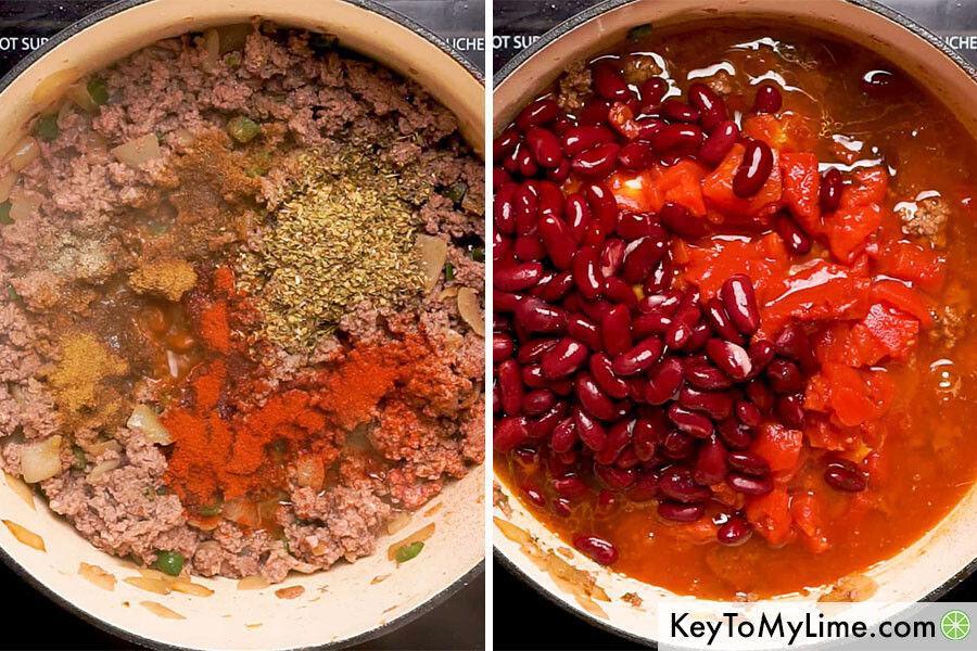 A process collage showing spices, tomatoes, and beans added to a pot.
