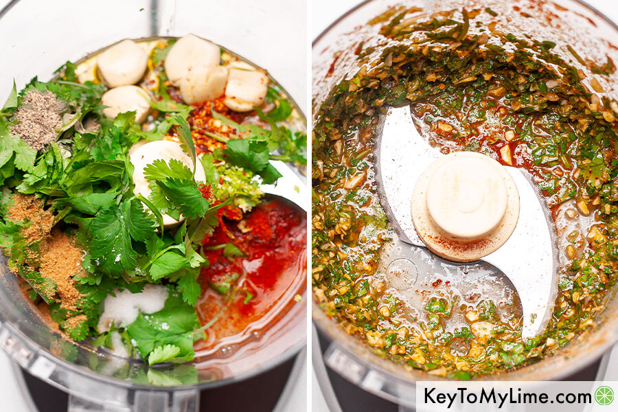 A process collage showing cilantro lime marinade before and after blending it in a food processor.