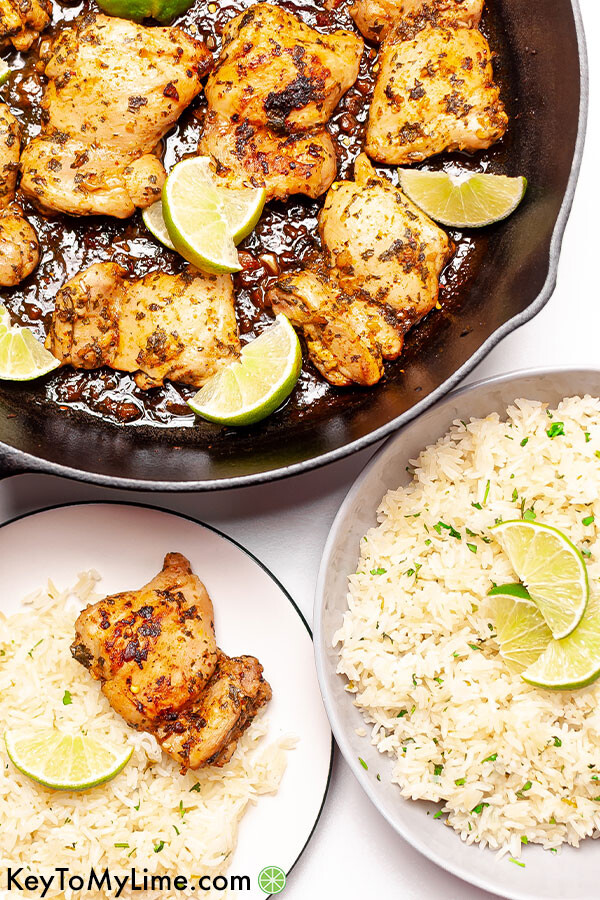 Cilantro lime chicken in a skillet and on a plate.