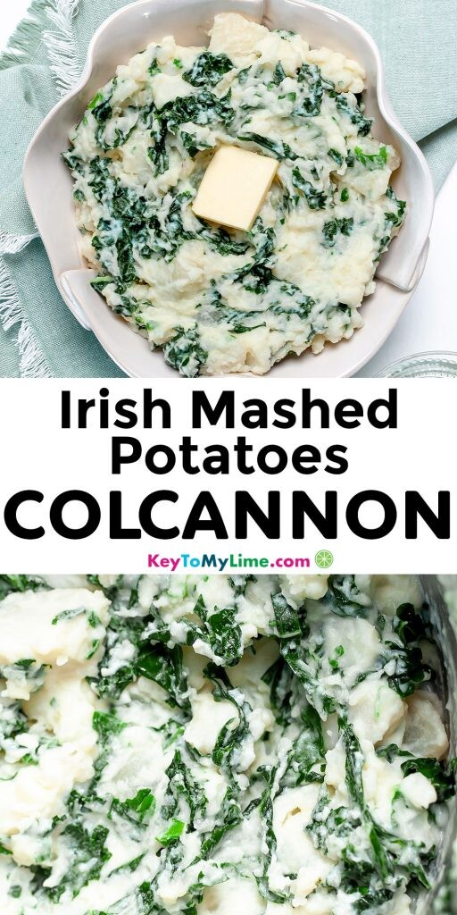 A Pinterest pin image of Irish mashed potatoes with title text.