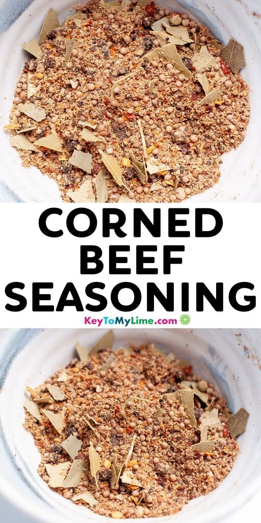 Pinterest pin image of corned beef seasoning with title text.