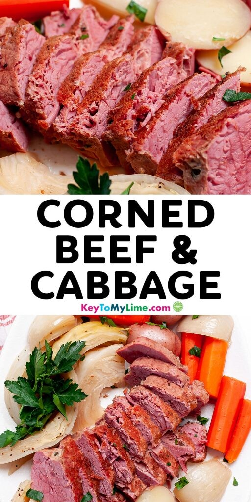 Pinterest pin image of corned beef with title text.