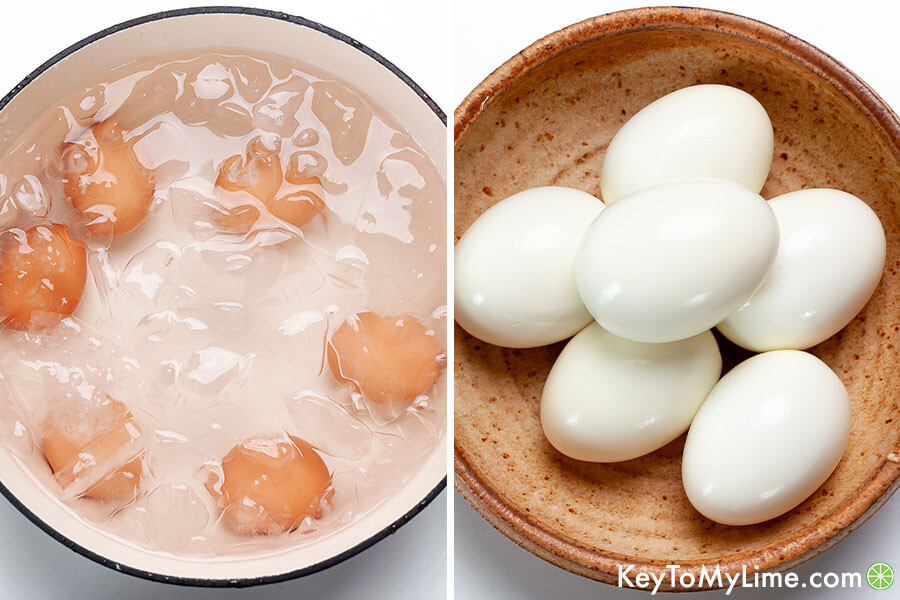 A process collage showing hard boiled eggs in an ice bath and after peeling.