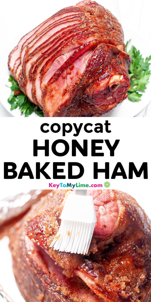 A Pinterest pin image with pictures of honey baked ham and title text.