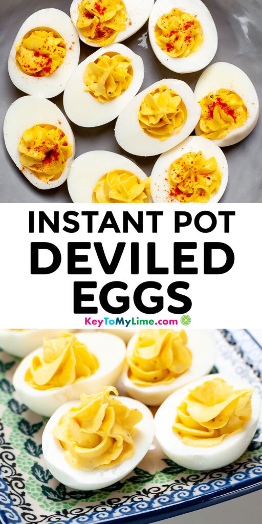 Pinterest pin image with pictures of Instant Pot deviled eggs and title text.