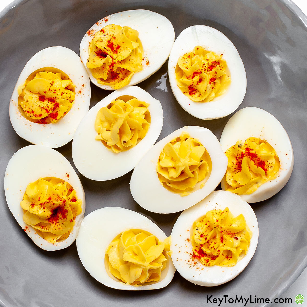 Instant Pot deviled eggs sprinkled with paprika.