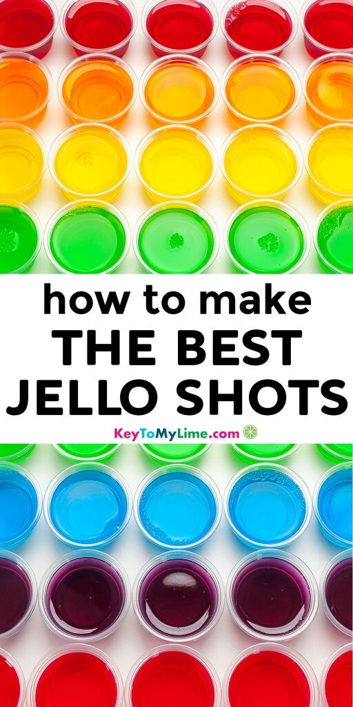 A Pinterest pin image with two pictures of jello shots and title text in the middle.