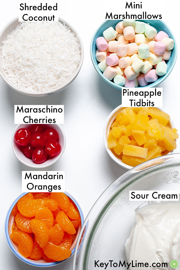 The labeled ingredients for ambrosia salad.