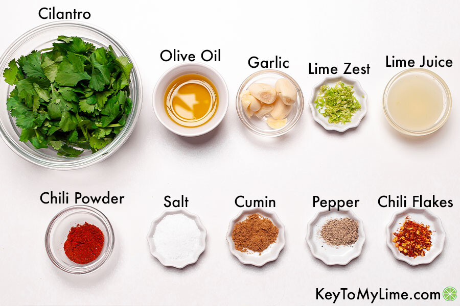 The labeled ingredients for cilantro lime marinade.