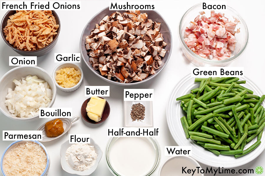 The labeled ingredients for green bean casserole.
