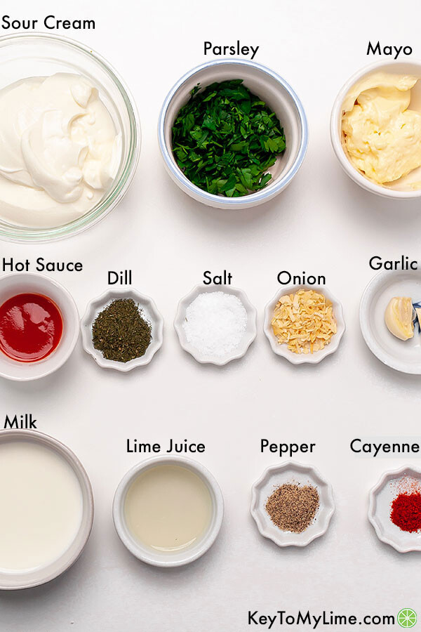 Labeled ingredients for spicy ranch dressing.