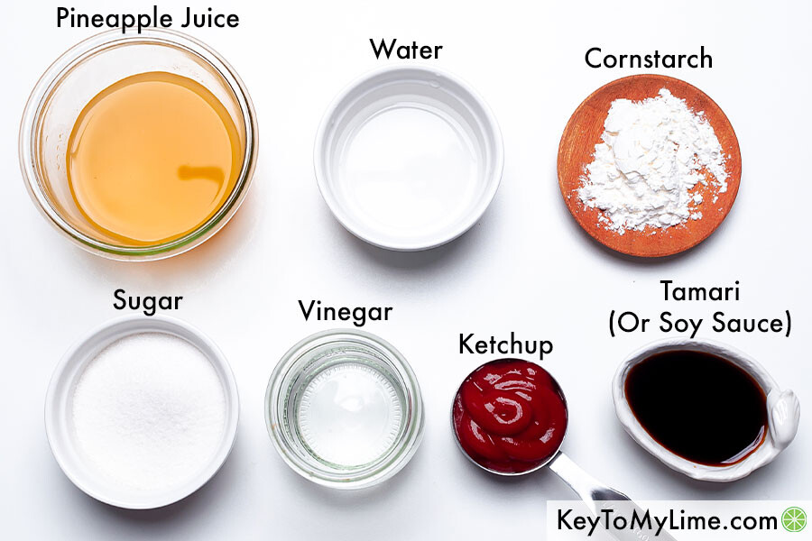 The labeled ingredients for sweet and sour sauce (pineapple juice, water, cornstarch, sugar, vinegar, ketchup, and Tamari).