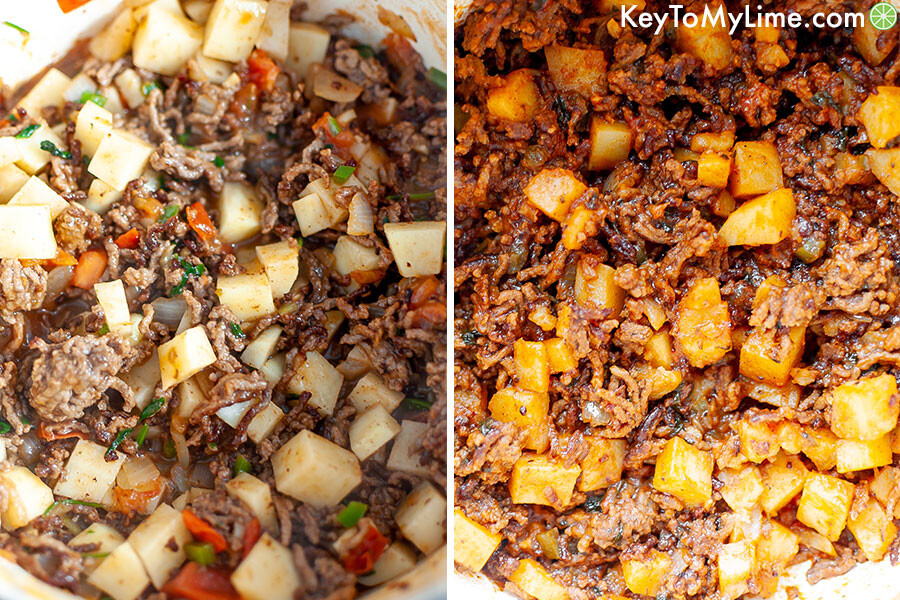 A process collage showing picadillo in a large pot before and after cooking.