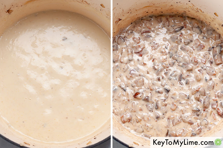 A process collage of mushroom cream sauce being made.