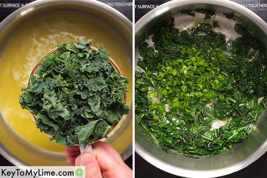 A process collage showing kale and green onions being cooked in butter.