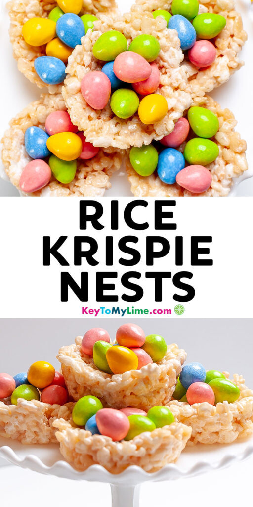 A Pinterest pin image with pictures of Rice Krispie nests and title text.