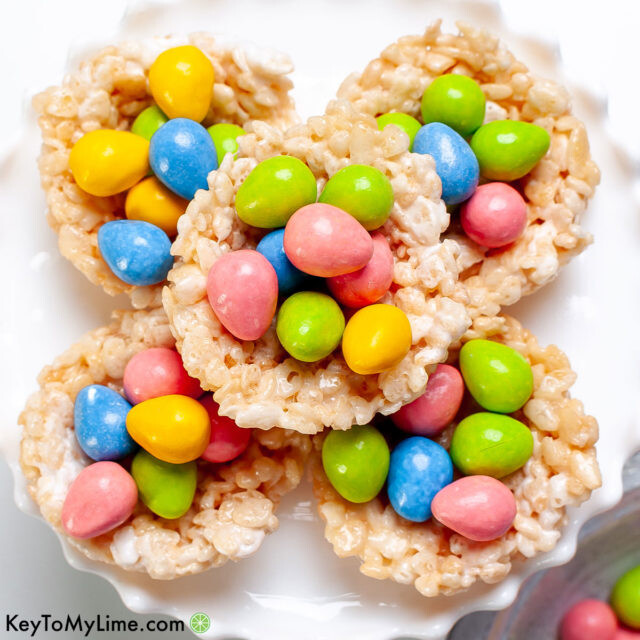 A stack of the best ever Rice Krispie Nests recipe with candy eggs.