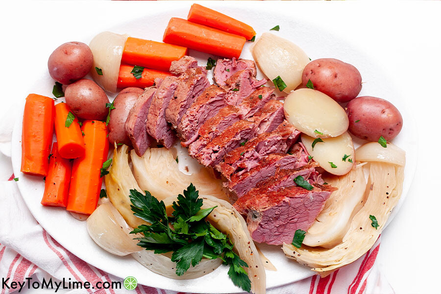 A platter of corned beef and vegetables.